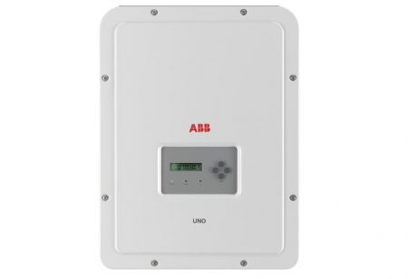 ABB UNO-DM solar inverter on a white background